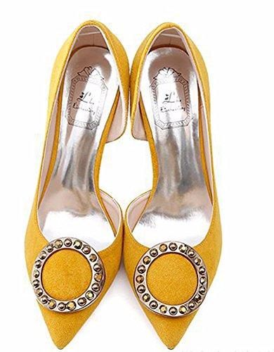 Aisun Femme Ronde Stiletto Escarpins Chic Tire Jaune D'orsay Mariage ggr7qUwxd