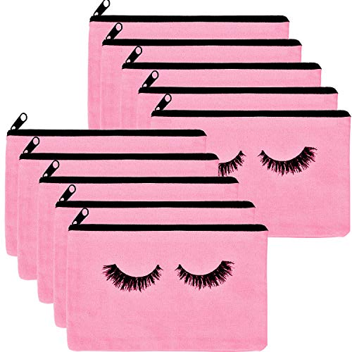 10 Pieces Eyelash Makeup Bags Cosmetic Bags Travel Make up Pouches with Zipper for Women Girls (Pink)