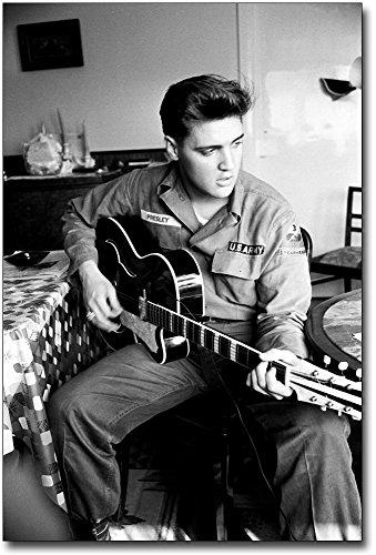 Elvis Presley in Army Uniform Playing Guitar 12x18 Silver Halide Photo Print