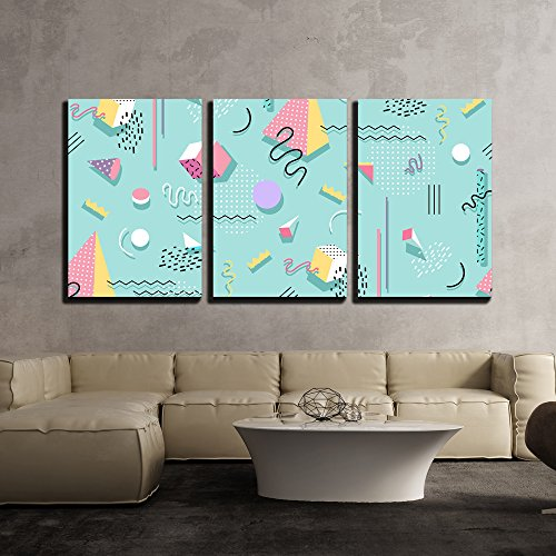 wall26 - 3 Piece Canvas Wall Art - Vector - Memphis Pattern of Geometric Shapes for Tissue and Postcards - Modern Home Decor Stretched and Framed Ready to Hang - 24