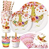 161 PCS Unicorn Party Supplies Favors Kit-Unicorn Party Plates Cupcake Toppers Wrappers Napkins Cups For Girl Birthday
