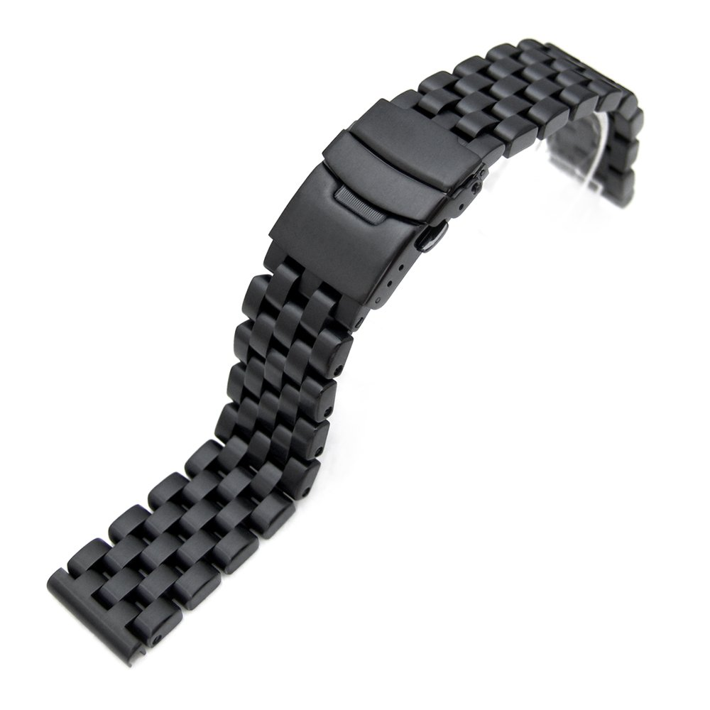 20mm PVD Black Engineer Solid Link 316L Stainless Steel Watch Bracelet Band