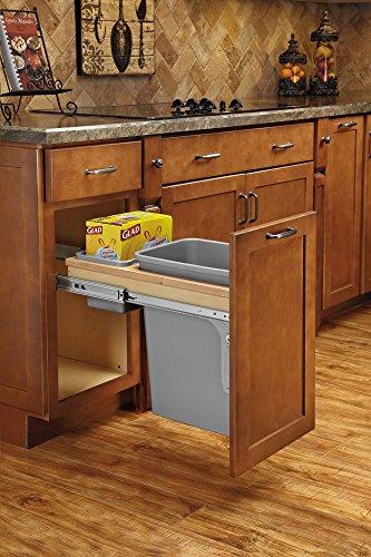 Rev-A-Shelf 4WCTM-12BBSCDM1 Single Pull-Out Top Mount Wood and Silver Waste Container with Ball-Bearing Soft-Close Slides, 35 quart, Natural by Rev-A-Shelf