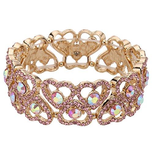 EVER FAITH Gold-Tone Austrian Crystal Sweet Love Heart Bridal Elastic Stretch Bracelet Pink (Pink Stretch Bracelet Crystal)