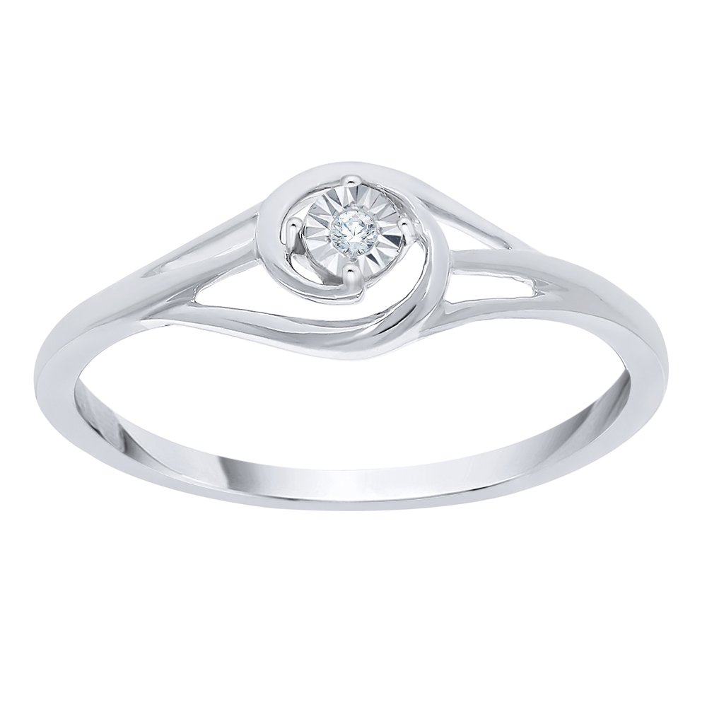 Diamond Accent Promise Ring in Sterling Silver (I-Color, SI3-I1 Clarity) (Size-10.75)