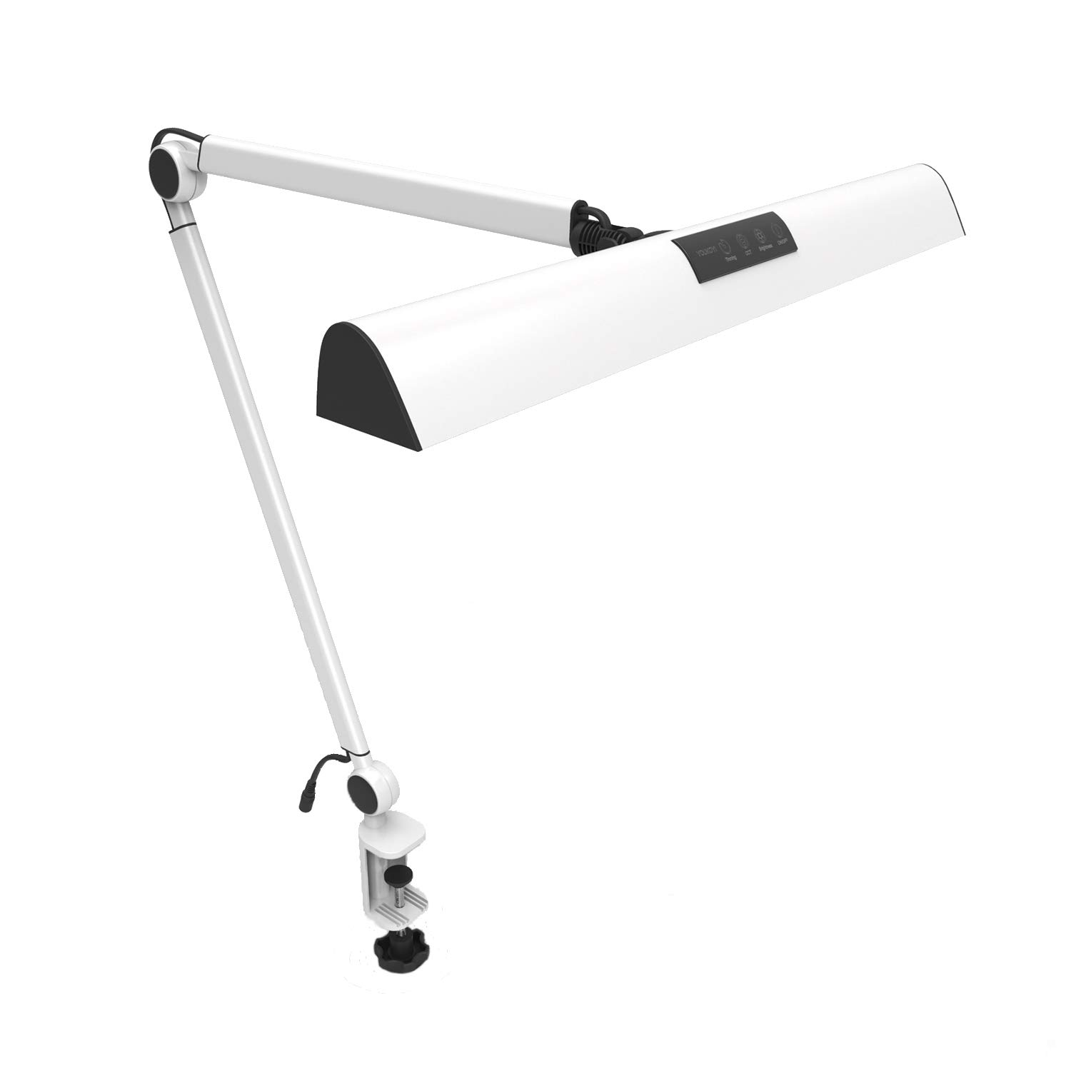 YOUKOYI A509 LED Swing Arm Architect Desk Lamp Clamp, Drafting Table Lamp for Reading Working 2 Lighting Modes, 4-level Dimmable, Eye Caring -Silver