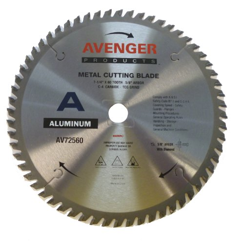 (Avenger AV-72560 Aluminum cutting saw Blade, 7-1/4-inch by 60 tooth, 5/8-inch arbor with diamond KO, C-6, ATB)