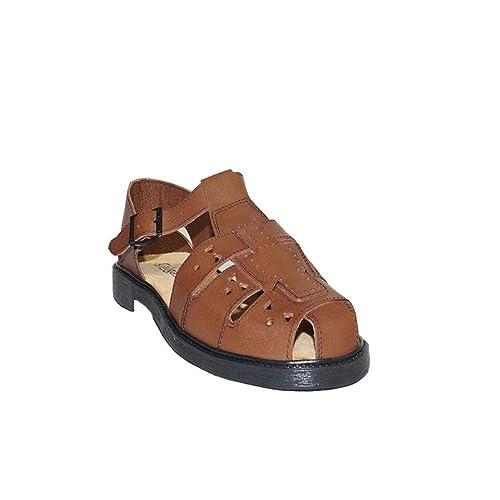 8b71a6096 CALIGAS Sandalia CANGREJERA Serraje 518 Sandalias Hombre Piel Confort  Marrón  Amazon.es  Zapatos y complementos