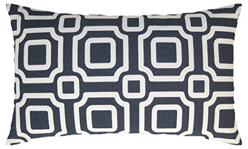 JinStyles Square Chain Cotton Canvas Lumbar Decorative Throw Pillow Cover (White and Blue, 12 x 20) Contemporary Decorative Pillow