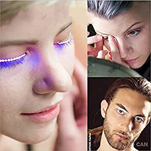 LED Glowing False Waterproof Eyelashes Sodope for Party Bar Nightclub Concerts Birthday Gift Halloween (Purple)