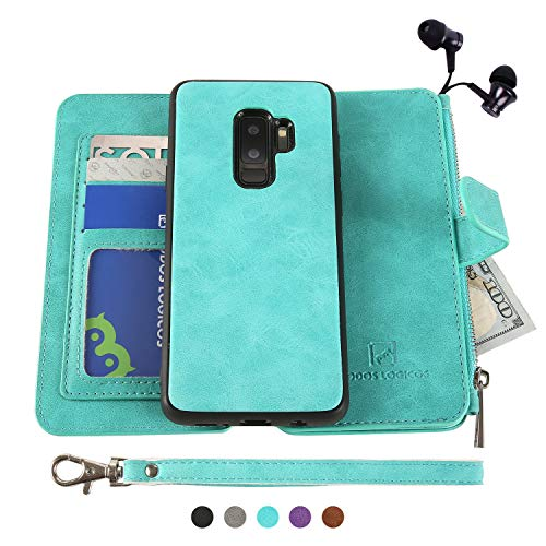 Galaxy S9 Plus Case, Modos Logicos [Detachable Wallet Folio][2 in 1][Zipper Cash Storage][Up to 14 Card Slots 1 Photo Window] PU Leather Purse Clutch with Removable Inner Magnetic TPU Case ()