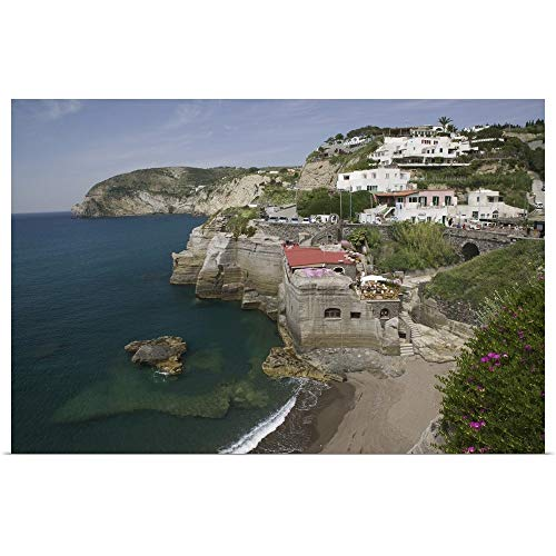 "GREATBIGCANVAS Poster Print Entitled High Angle View of The Beach, Sant Angelo Beach, Ischia, Naples, Campania, Italy by 18""x12"""