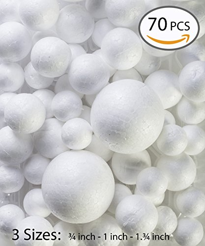 My Toy House Small Craft Styrofoam Balls, Pack of 70, Assorted Sizes, White Color