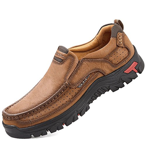 Mens Slip On Walking Shoes Breathable Leather Casual Outdoor Hiking Shoes Brown...