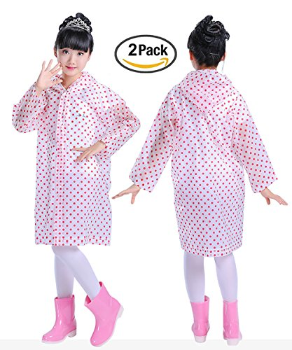 Smartown Age 6-14 Kids Dots Style Hooded Rain Poncho Raincoat Cover Long Rainwear Red Girls - 2 Pack by Smartown