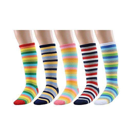Deer Mum Girl's Princess Style Knee High Cotton Socks (5-pairs) (Knee Socks Girls)