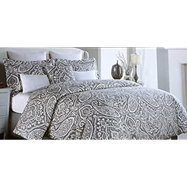 Nicole Miller 3 Piece Cotton King Size Duvet Cover Set White Floral Paisley Scroll Pattern on Gray with Silver Highlights