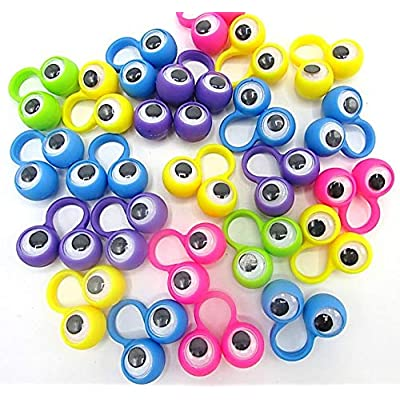 Dazzling Toys 24 Pack Eyes on Rings Party Favor Set | Eye Finger Puppets | Wiggly Eyes: Toys & Games