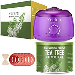 【Tea Tree Essential Oil】Yeelen Wax Warmer Essential Hard Wax Hair Removal Kit Electric Wax Heater for Face, Bikini Area, Legs with 10 Wax Applicator Sticks & 5 Wax Warmer Collar