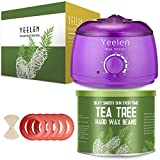 Wax Hair Removal Last - 【Tea Tree Essential Oil】Yeelen Wax Warmer Essential Hard Wax Hair Removal Kit Electric Wax Heater for Face, Bikini Area, Legs with 10 Wax Applicator Sticks & 5 Wax Warmer Collar