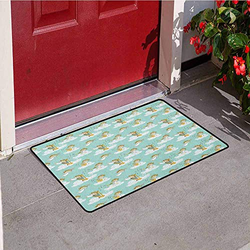 Gloria Johnson Angel Front Door mat Carpet Angels Playing Harp in Sky Clouds Myth Folk Lyre Folk Music Band Joy Machine Washable Door mat W15.7 x L23.6 Inch Seafoam White Earth Yellow]()