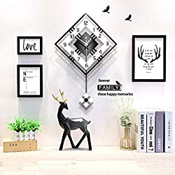 qwqqaq Modern Pendulum Wall Clock, Large Square Simple Hanging Clocks,Nordic Swing Quartz Clock for Living Room Cafe Bedroom-c 42x65cm(17x26inch)
