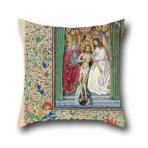 Pillowcover Of Oil Painting Workshop Of Master Of Jean Chevrot - The Throne Of Grace Trinity,for Relatives,coffee House,indoor,pub,father,bench 18 X 18 Inches / 45 By 45 Cm(each Side) Fox Womens Body Rock
