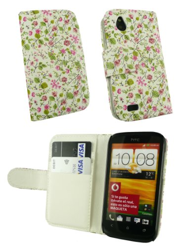 Emartbuy ® Value Pack Para HTC Desire X Caja De La Carpeta De Lujo / Cubierta / Bolsa Floral De Rosa / Verde Con Ranuras Para Tarjetas De Crédito + Compatible Micro Usb Car Charger + Protector De Pant