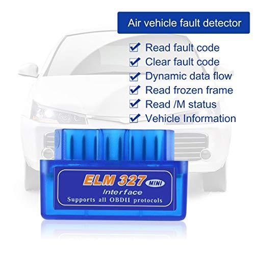 Justdodo Mini BK3231 Port/átil ELM327 V2.1 OBD2 II Diagn/óstico Auto Interfaz Esc/áner Azul Premium ABS Herramienta de Diagn/óstico