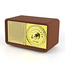 Reacher Retro Classic Style Portable Bluetooth Speaker, MP3 Player speaker with LED Light , Built-in Power Bank, Mic, support Micro TF SD Card, AUX Line-In, USB driver, Powerful 7W Audio Driver(Brown)