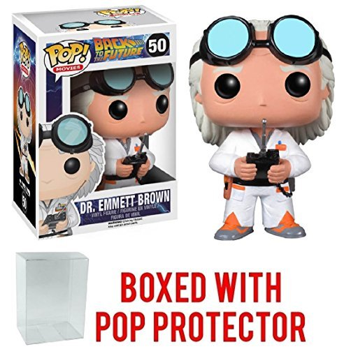 Funko Pop! Movies: Back to the Future - Dr. Emmett Brown Vinyl Figure (Bundled with Pop Box Protector -