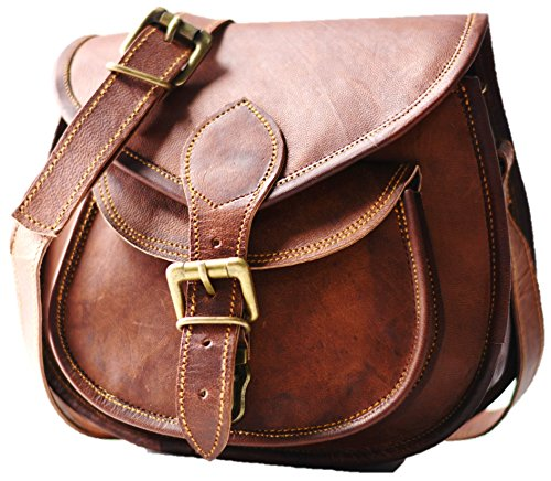 S&F Handmade Women Leather Vintage Style Genuine Brown Leather Cross Body Shoulder Bag Purse