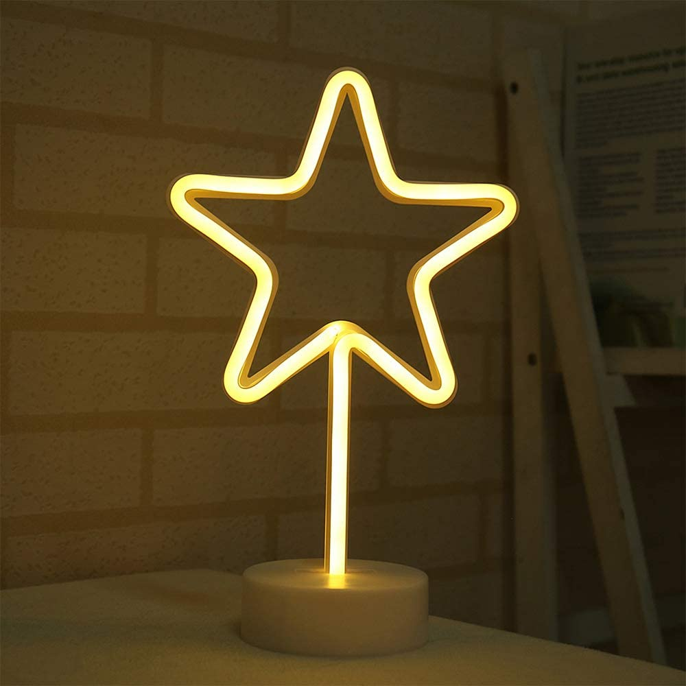 Warm White Star Shape LED Neon Night Light with Base Neon Light Lamp Battery/USB Powered Neon Signs Night Light Indoor Lighting for Bedroom Wedding Party Christmas Home Decoration