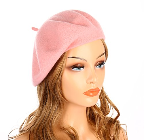 Pink Womens Beret - Wheebo Wool Beret Hat,Solid Color French Style Winter Warm Cap for Women Girls (Pink)