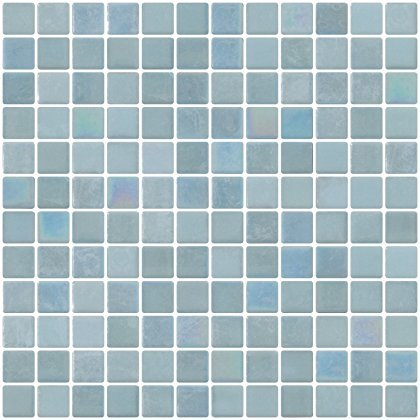 Susan Jablon Mosaics - 1 Inch Sky Blue Glow in the Dark Recycled Glass Tile (Glow In The Dark Glass Mosaic Tile)
