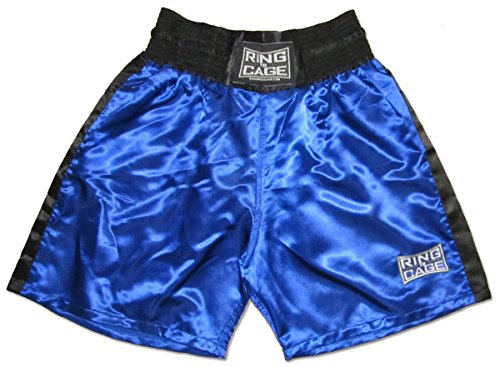 Ring to Cage Traditional Boxing Trunks, Blue or Red Color. Kids and Adult Sizes