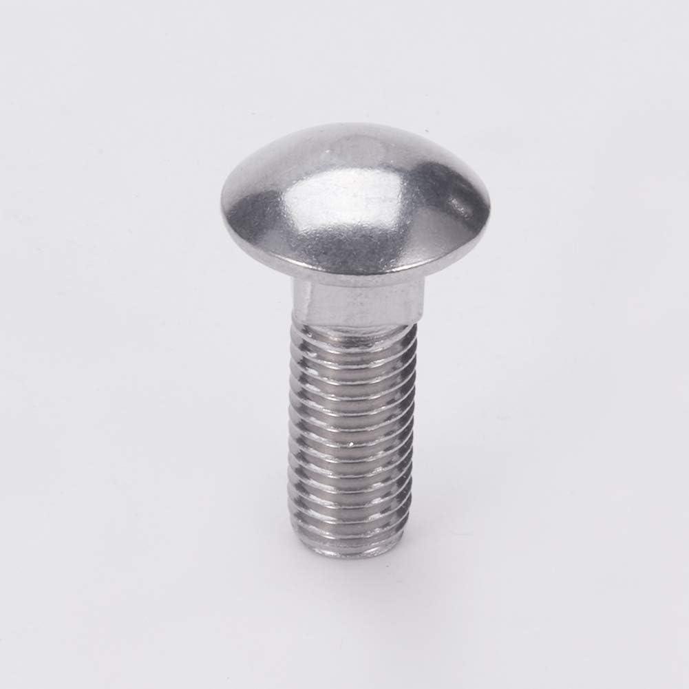 MroMax 2Pcs 5Pcs 8Pcs M12x30mm 35mm 60mm 80mm Round Cap Head Stainless Steel 1.75mm Pitch Square Neck Bolts Silver Tone.