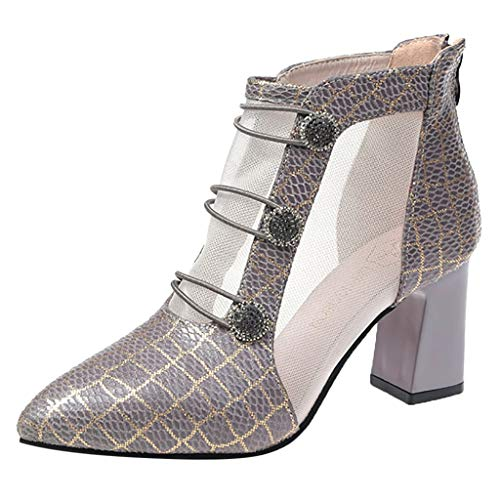 Kiminana Fashion Ladies Thick and Non-Slip Boots Hollow Out Ultra-Light Mesh Ankle Booties Chunky Block Low Heel ()