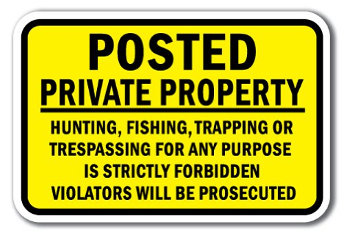 Posted Private Property Hunting, Fishing, Trapping Or Trespassing For Any Purpose Is...