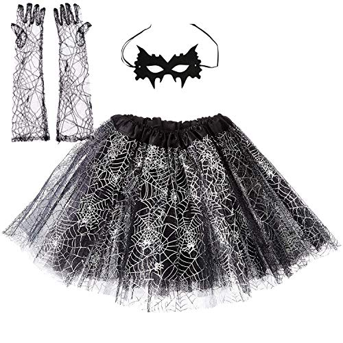 TRADERPLUS Women Halloween Spider Web Tutu Skirt Party Dress with Masquerade Mask & Lace Long Gloves