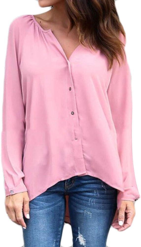 security - Camisas - Manga Larga - para Mujer Rosa Rosa XXL: Amazon.es: Ropa y accesorios