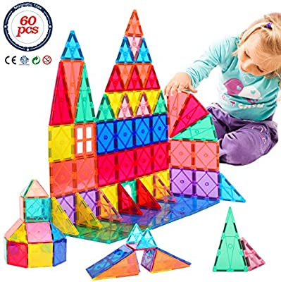 60 Piece Set 60pcs Magnet Building Tiles Clear Magnetic 3D Building Blocks