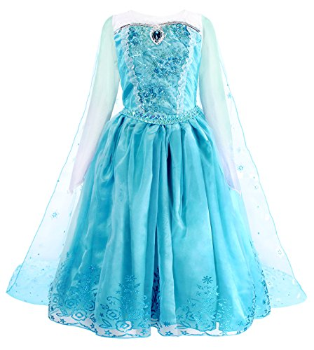 Cotrio Elsa Dress Up Halloween Costume for Girls Cosplay Outfit Toddler Princess Dresses with Snowflake Cape Size 8 (130, 7-8Years) -