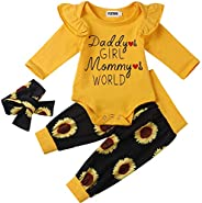 YJZIWX Newborn Baby Girl Clothes Ruffle Long Sleeve Bodysuit Floral Pants with Headband 3Pcs Infant Girl Outfi