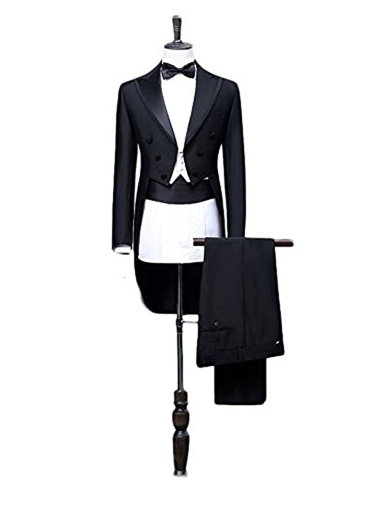 Botong Tailcoat Wedding Suit for Men Black Jacket Tuxedos 3 Pieces Mens Suit Groom Tuxedos zy-110
