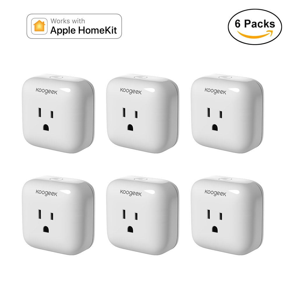 Koogeek Smart Plug, WiFi Socket, for Apple HomeKit with Siri, Electronics Controller on 2.4GHz Network [6 Packs] by Koogeek