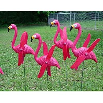 Fun Express Mini Pink Flamingos Yard Ornaments - Set of 6 Wind Spinner Flamingo Decor w/Twirling Wings : Garden & Outdoor