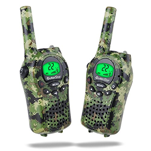 Walkie Talkies for Kids, iksee Toys for 4-13 Year Old Boys Girls, 22 Chanel 6Km Long Range Exploration Kit for Kids Outdoor Camping, Hunting, Expedition, Adventure (Camo Green, 1 Pair) - Kid Walkie Talkie