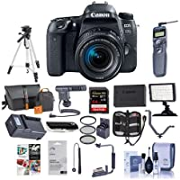 Canon EOS 77D DSLR with EF-S 18-55mm F4-5.6 IS STMLens - Bundle with 64GB SDHC Card, Camera Bag, Tripod, Video Light, Shotgun Mic, Spare Battery, Remote Shutter Release, 58mm Filter Kit, Software Kit