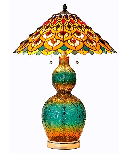 River of Goods 15037 Tiffany Style Stained Glass Peacock and
